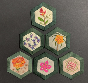 Embellished Hexagons flower basket quilt