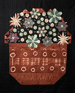 Red Sand Blossoms flower basket quilt
